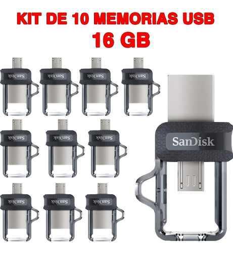 Paquete de 10 memorias usb 16gb sandisk dual otg usb 3.0 a