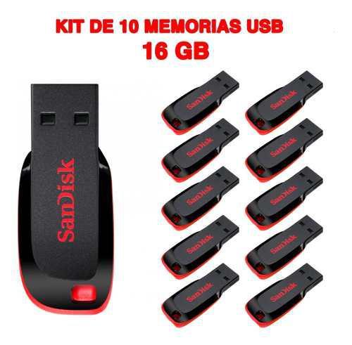 Paquete de 10 memorias usb 16gb sanidsk flash drive usb 2.0