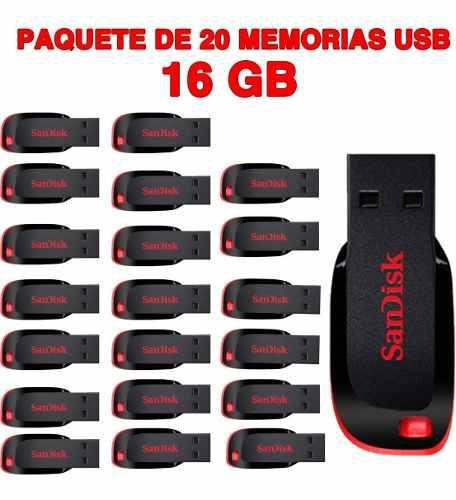 Paquete de 20 memorias usb 16gb sandisk flash drive usb 2.0