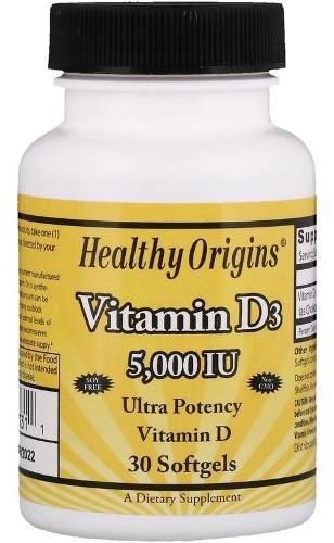 Healthy origins, vitamina d3, 5,000 ui, 30 perlas