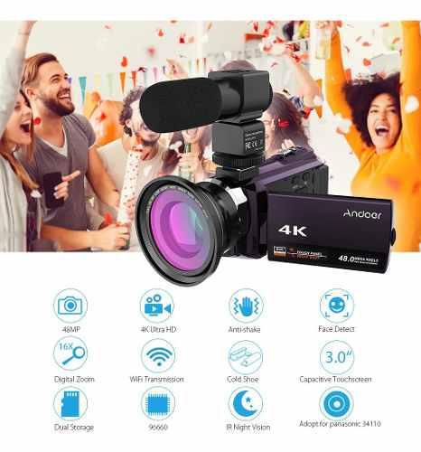 Andoer 4k videocámara 1080p 48mp wifi cámara de vídeo