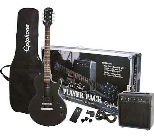 Paquete de guitarra epiphone les paul negro precio promocion