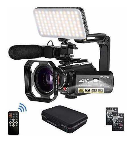 Videocámara ordro hdr-ac3 4k 24 fps visión nocturna luz