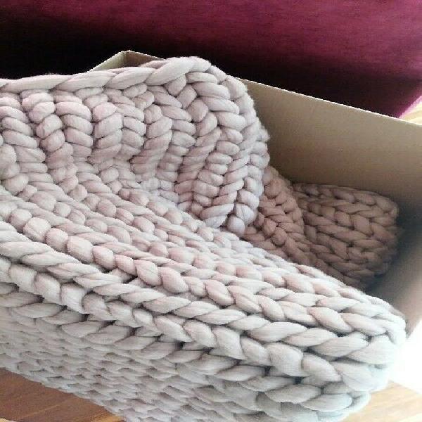 Manta de lana merino xxl - color moka - king size