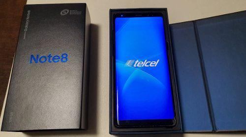 Samsung galaxy note 8 negra en caja, 128 gb, detalle cristal