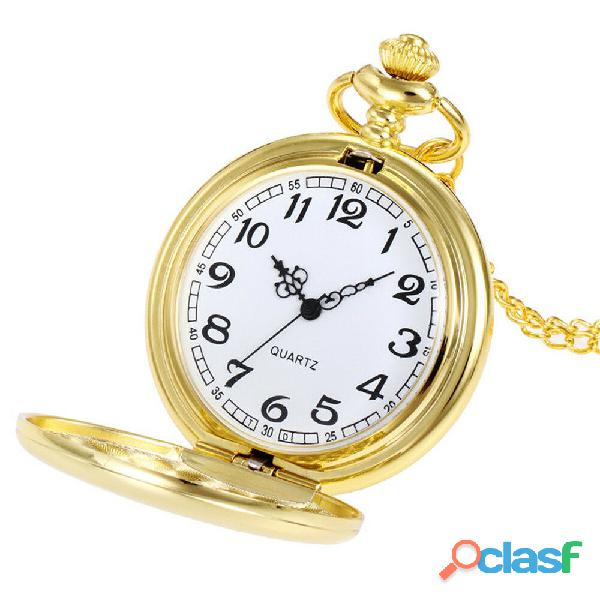 Reloj de bolsillo tipo vintage dorado liso manecillas