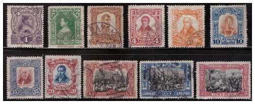 1910 centenario d la independencia serie 11 sellos usados