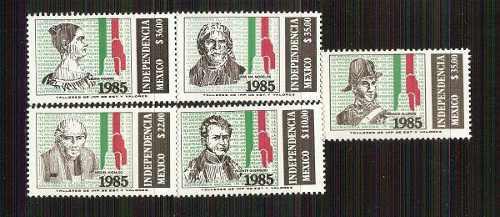1985 independencia mèxico 175 aniv. 5 sellos + hoja mint nh