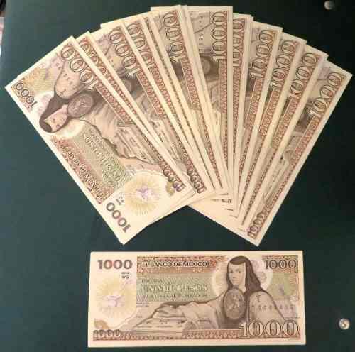 Billete antiguo banco de mexico de 1,000 pesos nuevos c/u