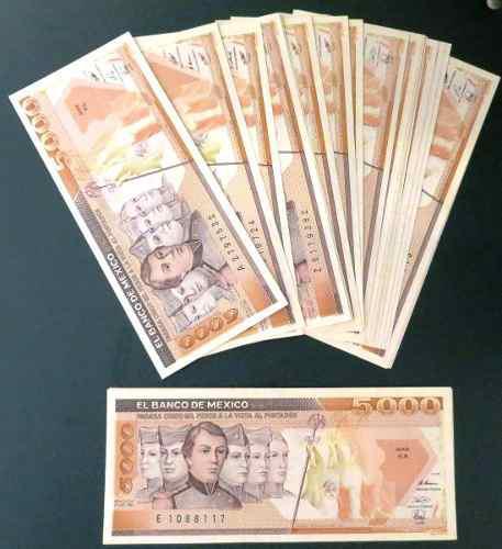 Billete antiguo banco de mexico de 5,000 pesos nuevos c/u
