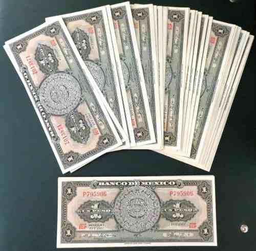 Billete antiguo de 1 peso banco de mexico c/u nuevo