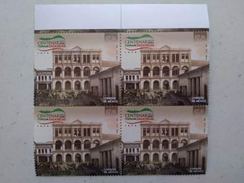 Block 4 timbre centenario toma de zacatecas pancho villa '14