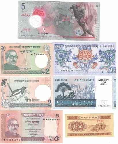 Coleccion 7 billetes paises extranjeros