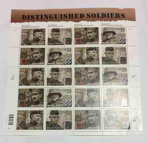 Distinguished soldiers 20 timbres postales usa retromex v