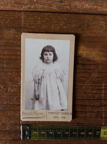 Fotografia antigua niña dedicatoria fecha de 1891