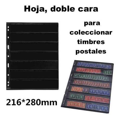 Hoja 7 filas para coleccionar timbres postales, doble cara