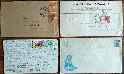 Mexico 1923 - 1976 colección de sobres circ y nvos 4 piezas