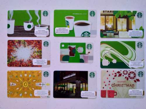 Set 9 tarjetas starbucks méxico nuevas