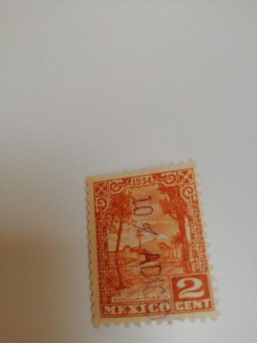 Timbre de 1934, 2 centavos, original sin usar