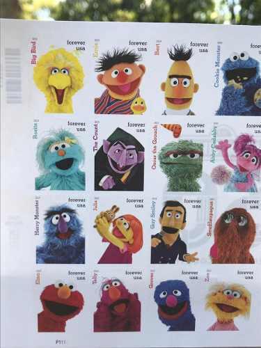 Timbres postales plaza sesamo 50 años aniversario 16 pzas
