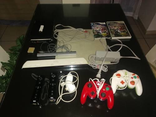 Wii con juegos para usb (2 controles)