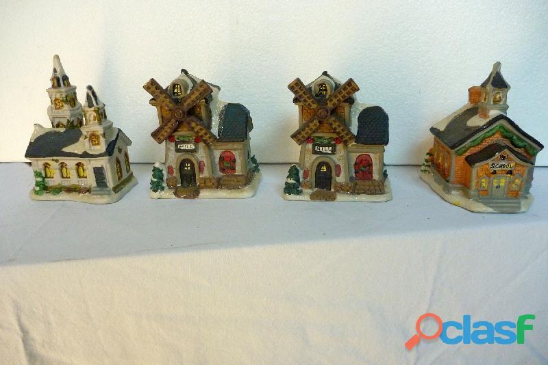 4 figuras, aldea navideña