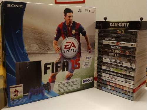Playstation 3 500gb con 22 juegos originales y controles