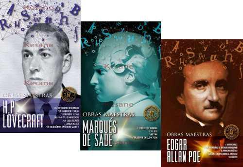 3 libros lovecraft + allan poe + marques sade obras maestras
