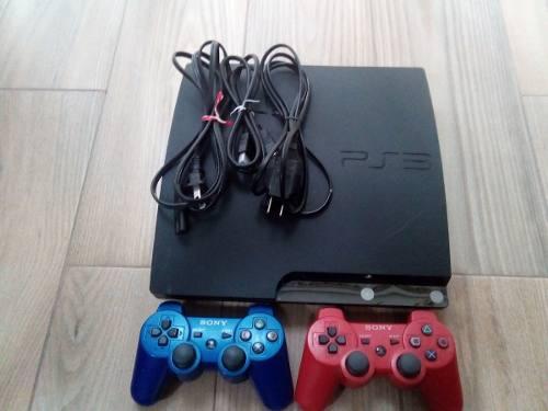 Playstation 3 negro, 100gb, controles azul y rojo +9 juegos