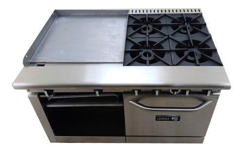 Estufa asber amr-48 4 fuegos abiertos + plancha 24 + horno