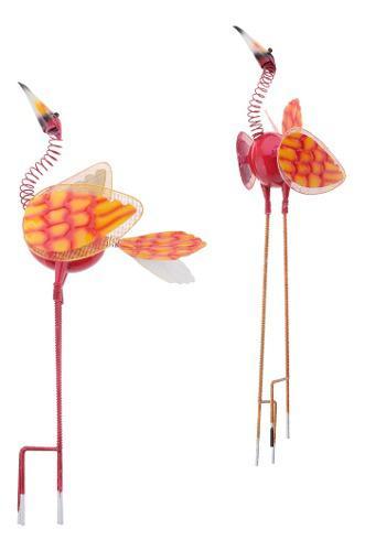 2 x nerdy cuellos metal pájaro jardín herramientas de