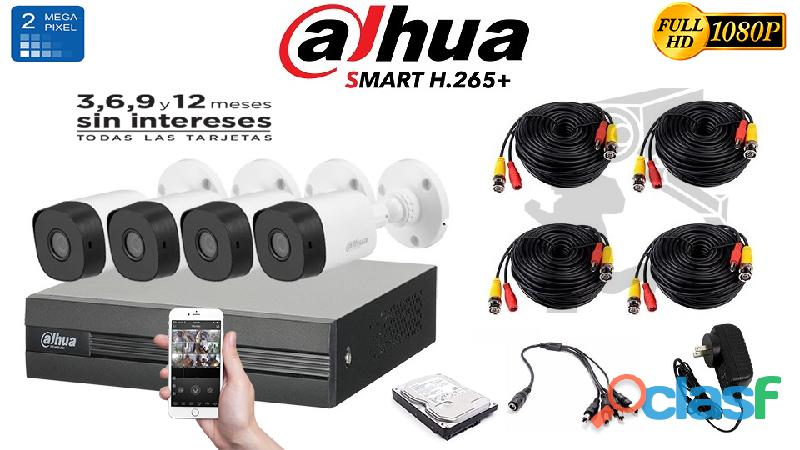 Kit de 4 cámaras de seguridad full hd dahua 2mp 1080p $4999