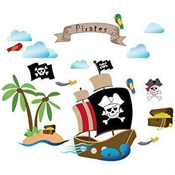 Decalmile barco pirata etiquetas de la pared niños