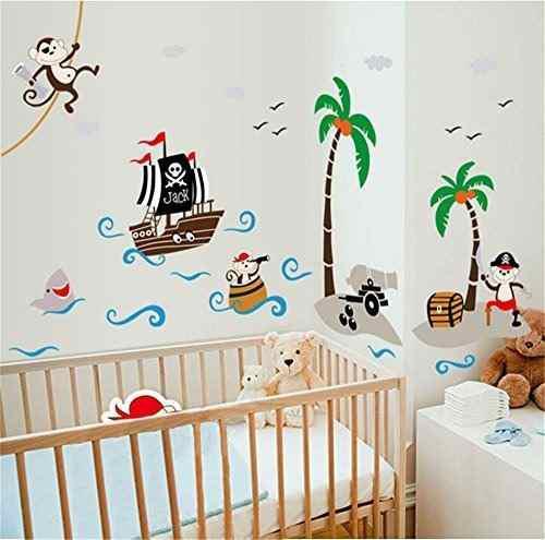 Ufengke dibujos animados barco pirata mono pirata isla de co