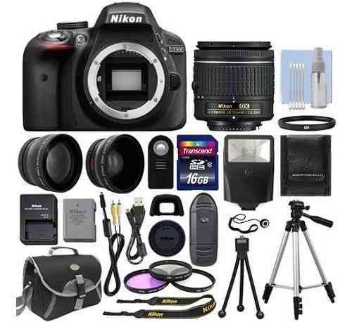 Kit nikon d3300 cámara digital slr + 3 lentes:18-55mm +16