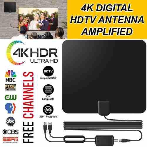 80 miles alcance 30db antena tv digital hd interior