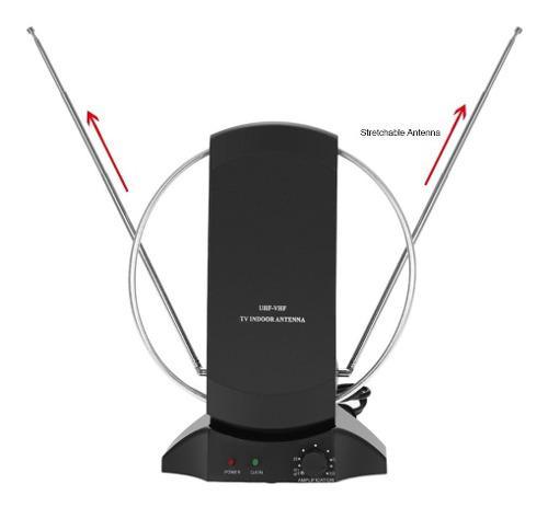 Antena hdtv amplificada lan-1014 interior us negra