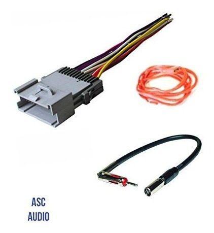 Asc audio car stereo wire harness y adaptador de antena par