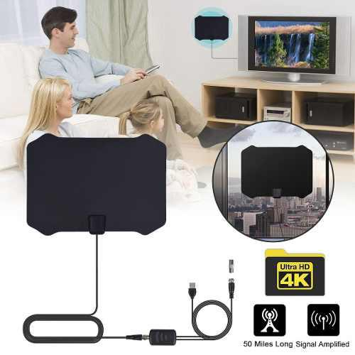 Digital interior hdtv amplified tv antena con aéreo