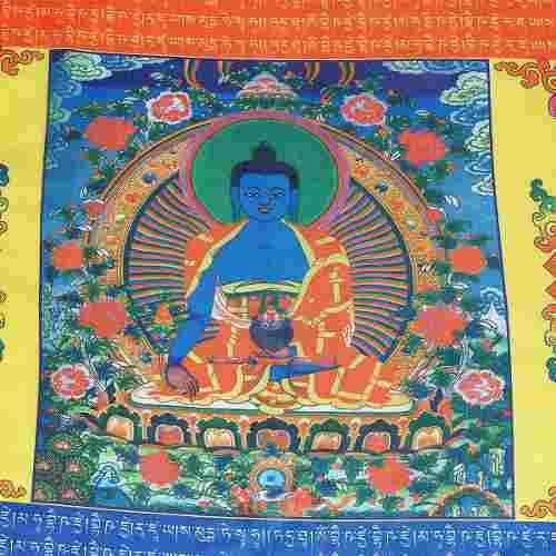 Bandera tibetana de viento de caballo budista de oración de