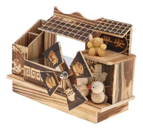Caja de música madera con molino de viento animales de