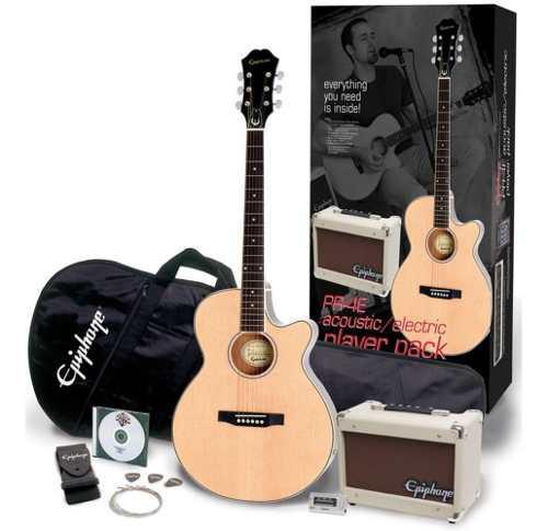 Pack paquete de guitarra electroacústica epiphone pr4e