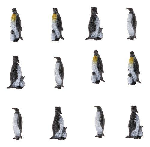 12 piezas figura de animal océano en miniatura pingüinos