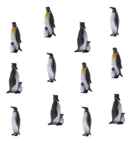 12 unidades figura de pingüinos plástico en miniatura