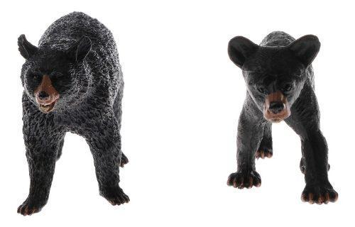 2 unidades modelo de oso negro en miniatura juguete de