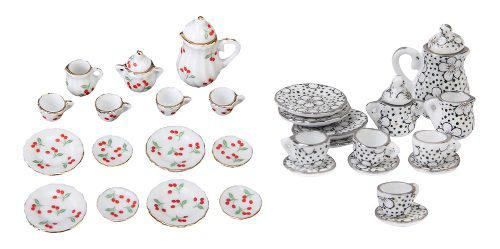 30pcs escala 1:12 miniatura juego de té de cerámica