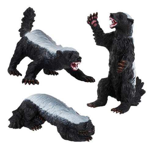 3x tejón en miniatura juguete animal realista modelo de