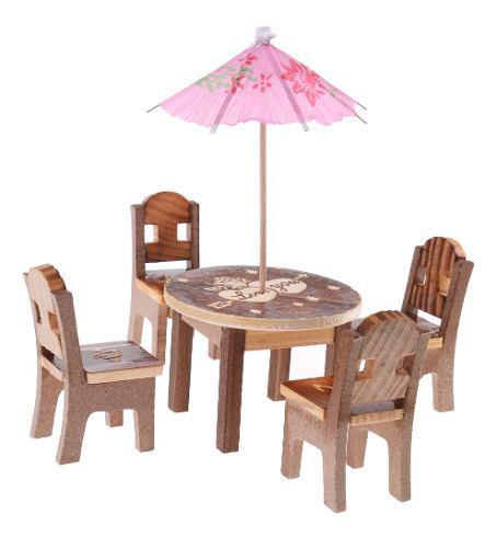 6 piezas set de silla y mesa de madera muebles en miniatura