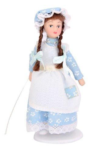 Casa de muñecas muñecas porcelana miniatura trenzado cabel