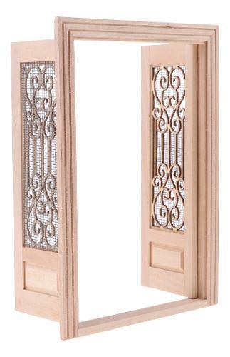 Escala 1/12 miniaturas puerta doble de madera externa